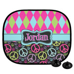 Harlequin & Peace Signs Car Side Window Sun Shade (Personalized)