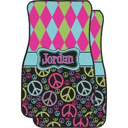 Harlequin & Peace Signs Car Floor Mats (Front Seat) (Personalized)