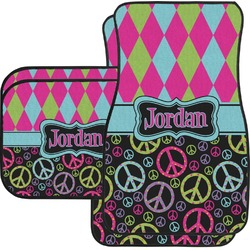 Harlequin & Peace Signs Car Floor Mats Set - 2 Front & 2 Back (Personalized)