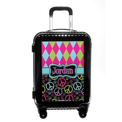Harlequin & Peace Signs Carry On Hard Shell Suitcase (Personalized)
