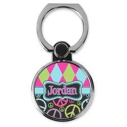 Harlequin & Peace Signs Cell Phone Ring Stand & Holder (Personalized)