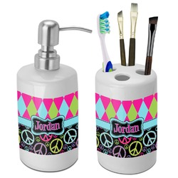 Harlequin & Peace Signs Bathroom Accessories Set (Ceramic) (Personalized)
