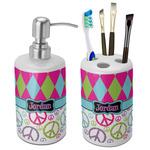 Harlequin & Peace Signs Ceramic Bathroom Accessories Set (Personalized)