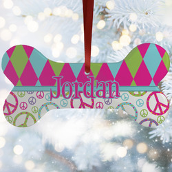 Harlequin & Peace Signs Ceramic Dog Ornaments w/ Name or Text