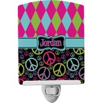 Harlequin & Peace Signs Ceramic Night Light (Personalized)