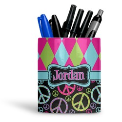 Harlequin & Peace Signs Ceramic Pen Holder