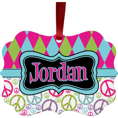 Harlequin & Peace Signs Ornament (Personalized)