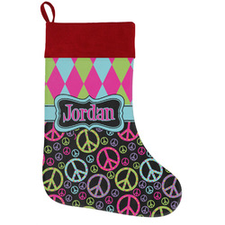 Harlequin & Peace Signs Holiday Stocking w/ Name or Text