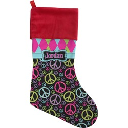Harlequin & Peace Signs Christmas Stocking (Personalized)