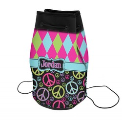 Harlequin & Peace Signs Neoprene Drawstring Backpack (Personalized)
