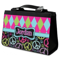 Harlequin & Peace Signs Classic Tote Purse w/ Leather Trim w/ Name or Text