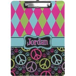 Harlequin & Peace Signs Clipboard (Personalized)