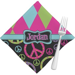 Harlequin & Peace Signs Napkins (Set of 4) (Personalized)