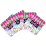 Harlequin & Peace Signs Cork Coaster - Set of 4 w/ Name or Text
