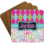 Harlequin & Peace Signs Coaster Set w/ Stand (Personalized)