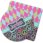 Harlequin & Peace Signs Rubber Backed Coaster (Personalized)