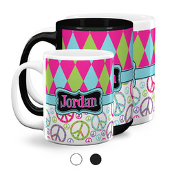Harlequin & Peace Signs Coffee Mugs (Personalized)