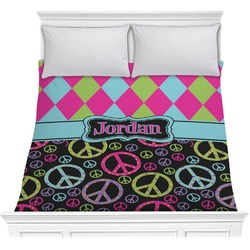 Harlequin & Peace Signs Comforter (Personalized)
