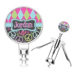 Harlequin & Peace Signs Corkscrew (Personalized)