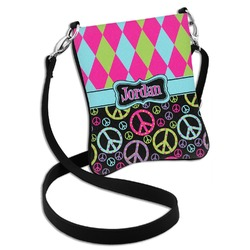 Harlequin & Peace Signs Cross Body Bag - 2 Sizes (Personalized)