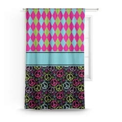 Harlequin & Peace Signs Curtain (Personalized)
