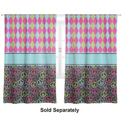 """Harlequin & Peace Signs Curtains - 40""""x54"""" Panels - Lined (2 Panels Per Set) (Personalized)"""