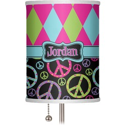 "Harlequin & Peace Signs 7"" Drum Lamp Shade (Personalized)"