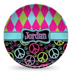 Harlequin & Peace Signs Microwave Safe Plastic Plate - Composite Polymer (Personalized)
