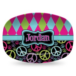 Harlequin & Peace Signs Plastic Platter - Microwave & Oven Safe Composite Polymer (Personalized)