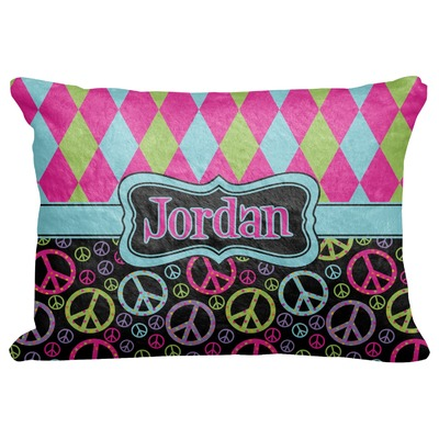 """Harlequin & Peace Signs Decorative Baby Pillowcase - 16""""x12"""" (Personalized)"""