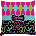 Harlequin & Peace Signs Decorative Pillow Case (Personalized)