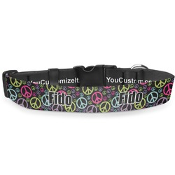 """Harlequin & Peace Signs Deluxe Dog Collar - Extra Large (16"""" to 27"""") (Personalized)"""