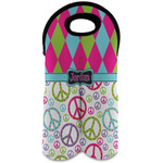 Harlequin & Peace Signs Wine Tote Bag (2 Bottles) (Personalized)
