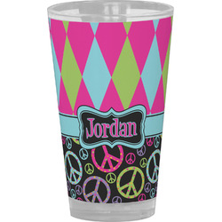 Harlequin & Peace Signs Drinking / Pint Glass (Personalized)