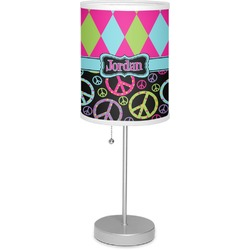"""Harlequin & Peace Signs 7"""" Drum Lamp with Shade Polyester (Personalized)"""