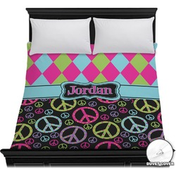 Harlequin & Peace Signs Duvet Cover (Personalized)