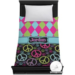 Harlequin & Peace Signs Duvet Cover - Twin (Personalized)