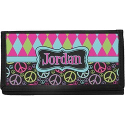 Harlequin & Peace Signs Canvas Checkbook Cover (Personalized)