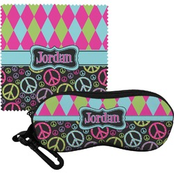 Harlequin & Peace Signs Eyeglass Case & Cloth (Personalized)