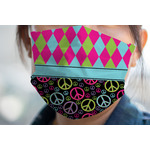 Harlequin & Peace Signs Face Mask Cover (Personalized)
