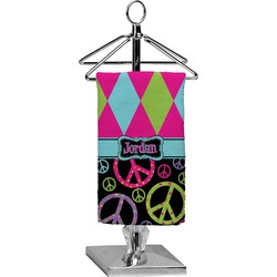 Harlequin & Peace Signs Finger Tip Towel - Full Print (Personalized)