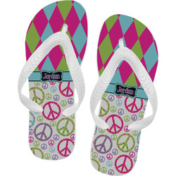 Harlequin & Peace Signs Flip Flops - Large (Personalized)