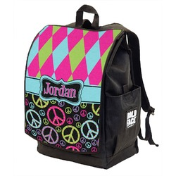 Harlequin & Peace Signs Backpack w/ Front Flap  (Personalized)
