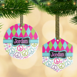 Harlequin & Peace Signs Flat Glass Ornament w/ Name or Text