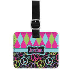 Harlequin & Peace Signs Genuine Leather Luggage Tag w/ Name or Text
