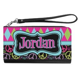 Harlequin & Peace Signs Genuine Leather Smartphone Wrist Wallet (Personalized)