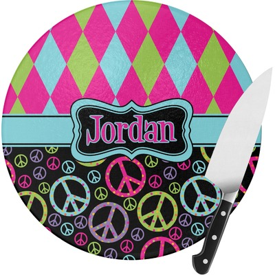 Harlequin & Peace Signs Round Glass Cutting Board (Personalized)
