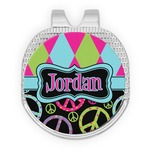 Harlequin & Peace Signs Golf Ball Marker - Hat Clip