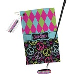 Harlequin & Peace Signs Golf Towel Gift Set (Personalized)