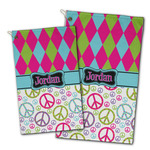 Harlequin & Peace Signs Golf Towel - Full Print w/ Name or Text